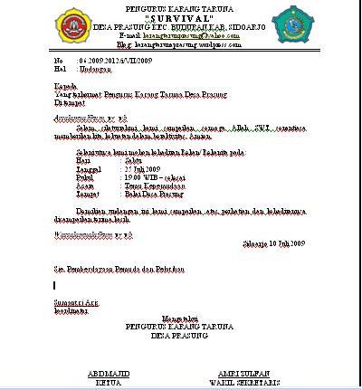 Contoh Surat Undangan Kartar Karang Taruna Desa Prasung